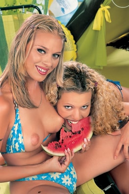 Jaqueline Stone & Victoria Swinger with the Watermelon-2